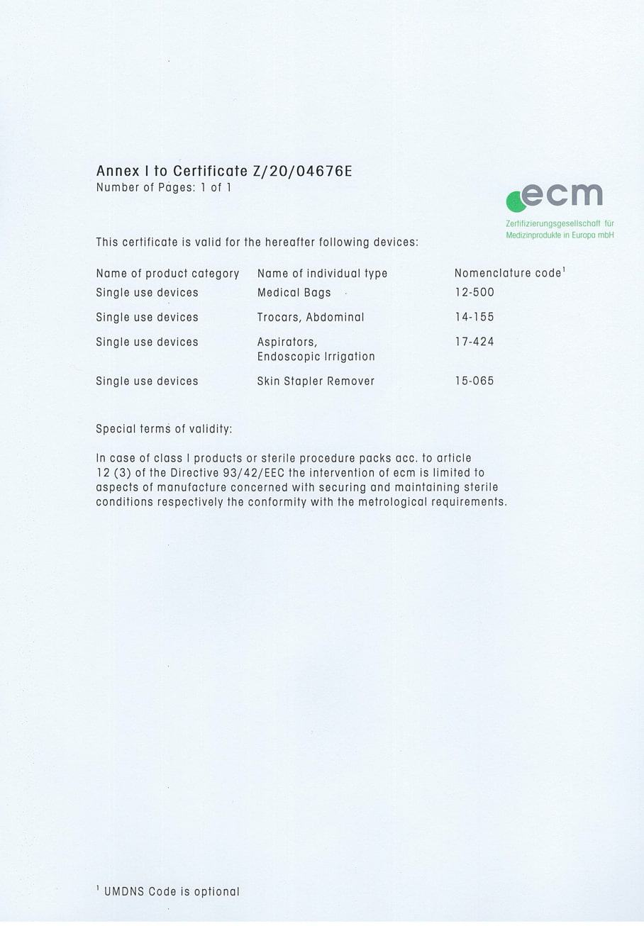 Zertifikat Z/20/04676E